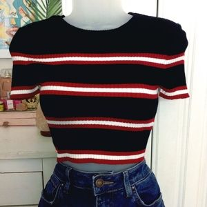 Forever 21 Tops - Striped Black Knit Crop Top